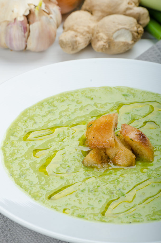 Sweet Pea Soup with Olive Oil Drizzle