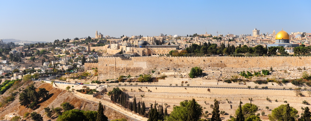 View from the Mount of Olives to Walls of the Old City of Jerusale