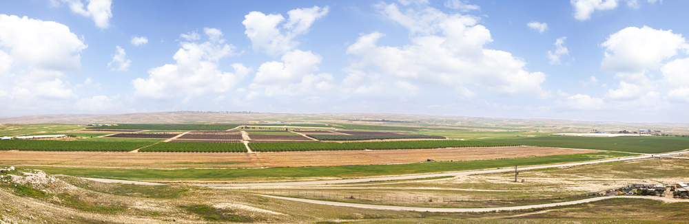 Panoramic view on spring agriculture valley - green fields, arable land and fruit plantations in the Negev desert, Israel