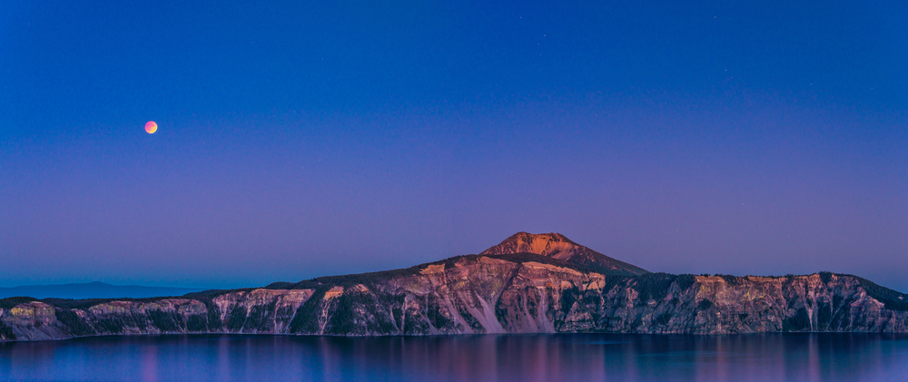 Crater lake when sunset on blood moon