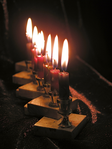 Close up of 8 Hanukkah candles