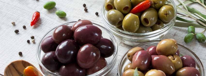 Olives in clear bowls