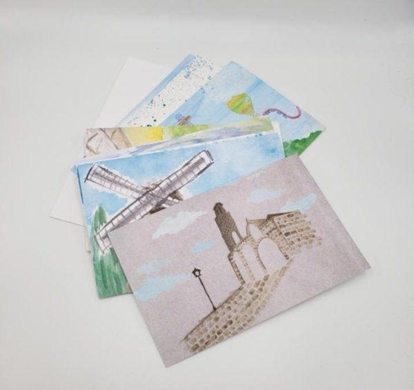A pile of handmade notecards form Yeladim children