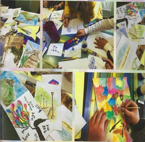 A collage of Yeladim Children making notecards