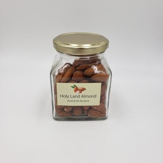 A jar of holy land almonds fresh from a farm in Israel
